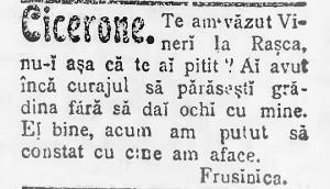 Cicerone se piteste de Frusinica