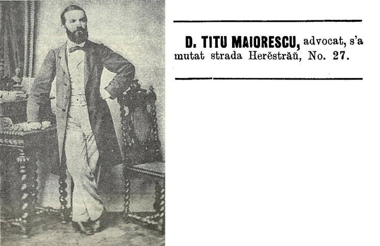 Titu Maiorescu, anunt din anul 1877