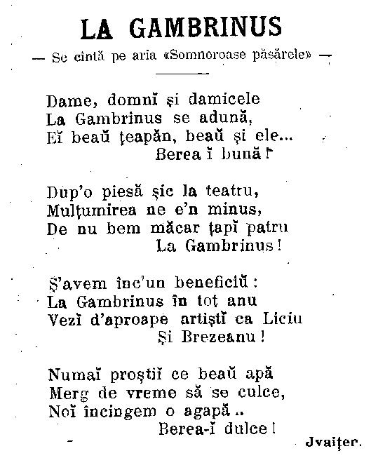 Furnica, septembrie 1904 - La Gambrinus