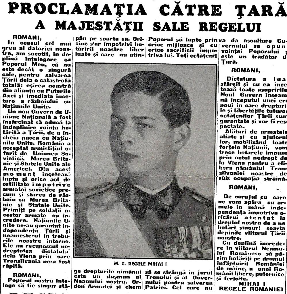proclamatia Regelui Mihai 23 august 1944