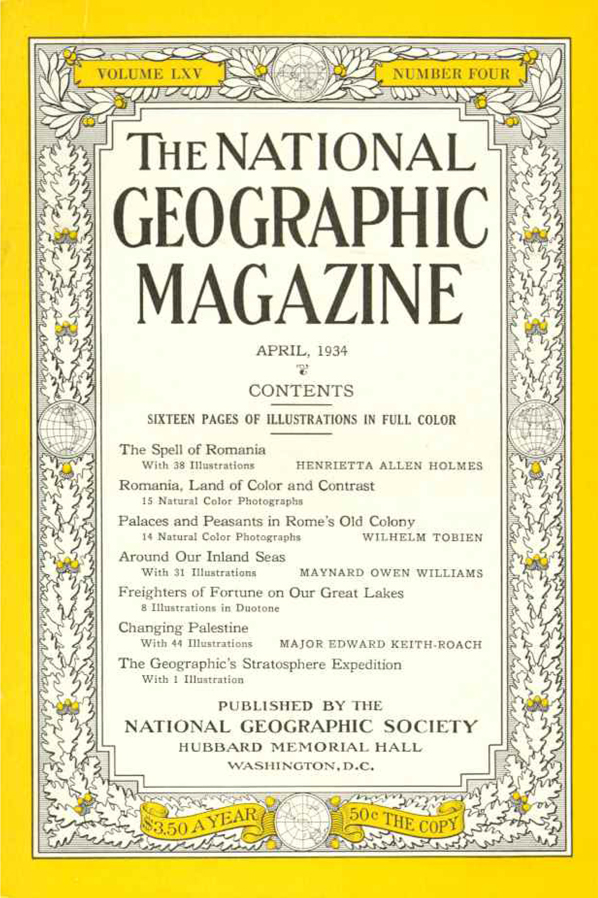 National Geographic Aprilie 1934 cover