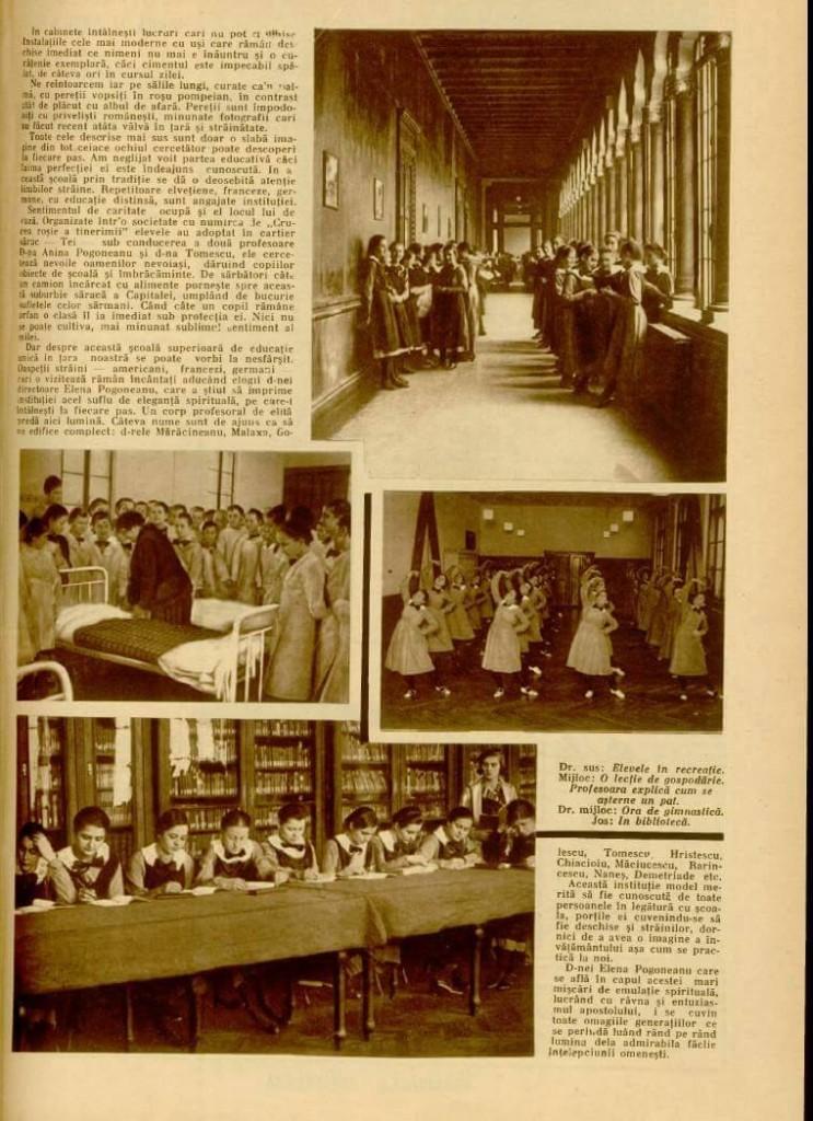 """Scoala Centrala de Fete in """"Realitatea ilustrata"""", 1933."""