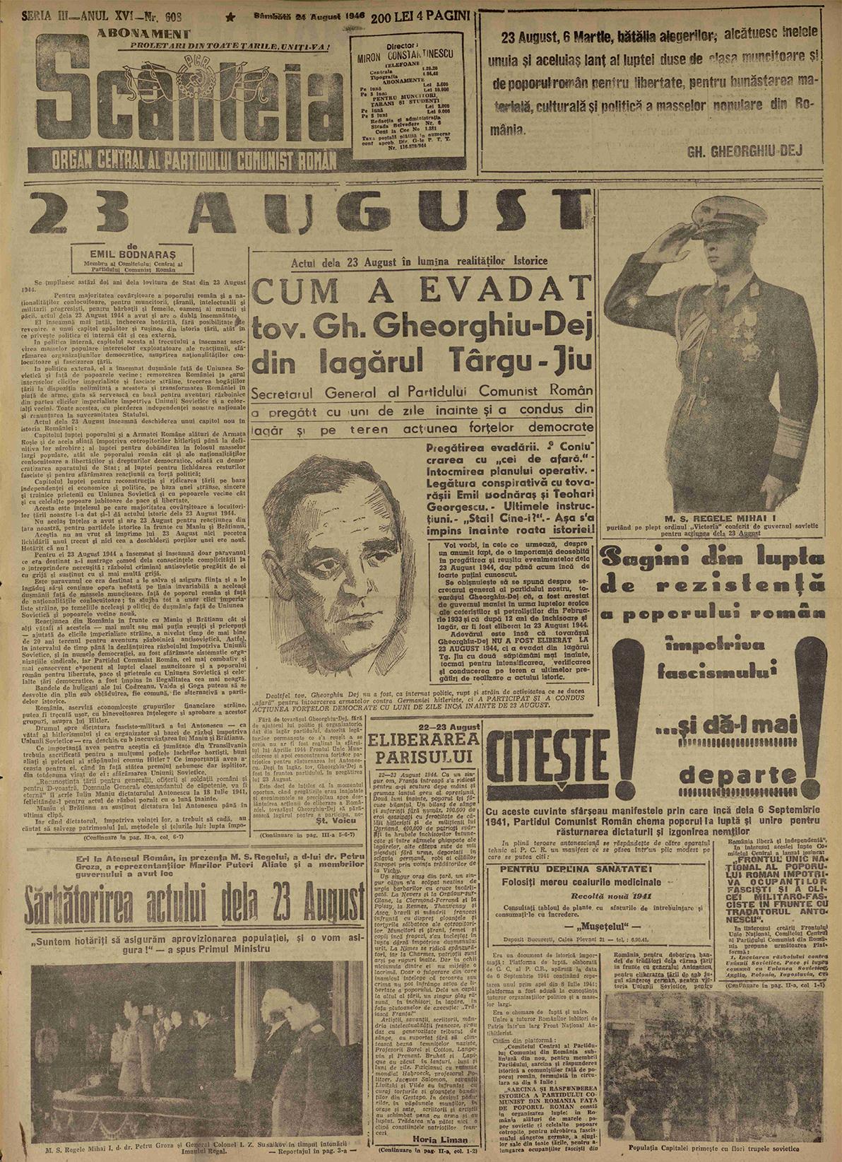 Sursa: Scânteia, 24 august 1946