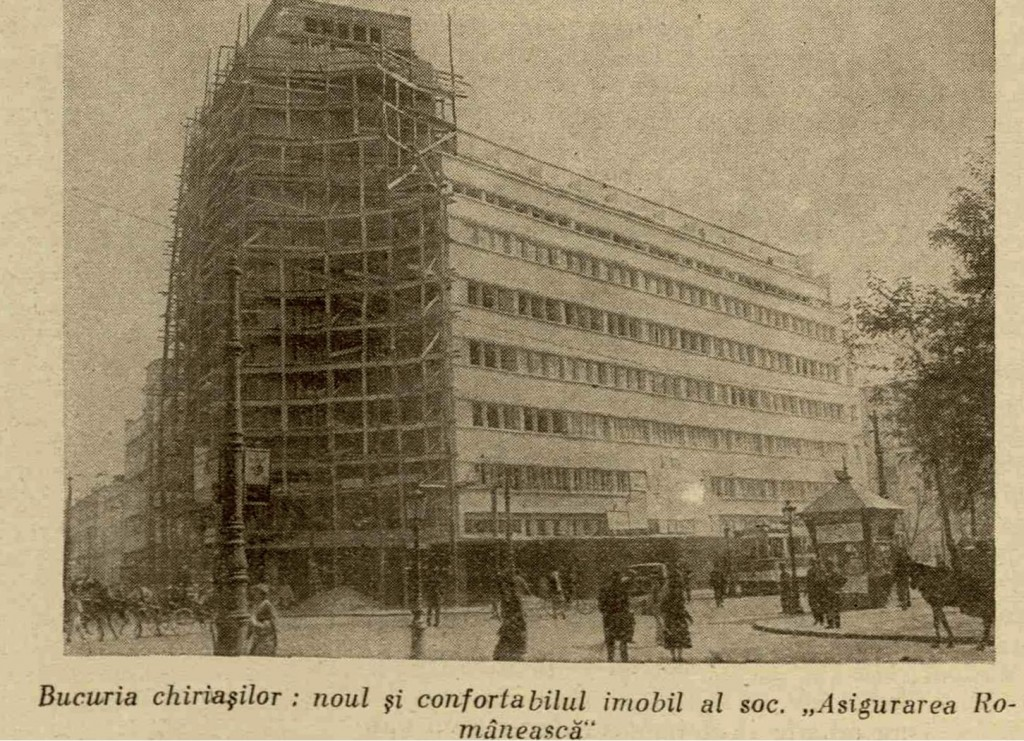 """Bucuria chiriașilor: noul imobil ARO (astăzi Patria) în construcție. Din """"Ilustrațiunea română"""", 21 octombrie 1931."""