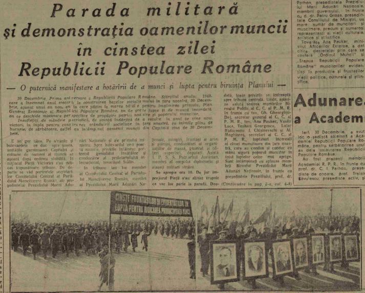 """Aniversarea republicii, cu portretele aferente ale conducătorilor. """"Scânteia"""", 31 decembrie 1948"""